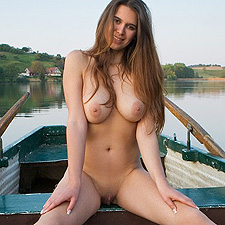 Busty Karoline rowing