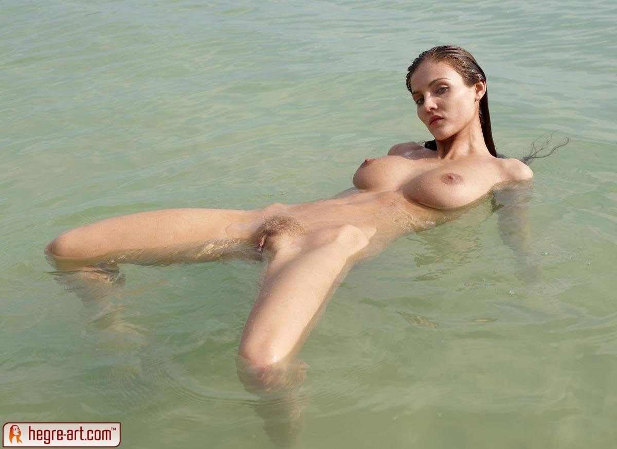 Strange Quite fat woman swimming naked