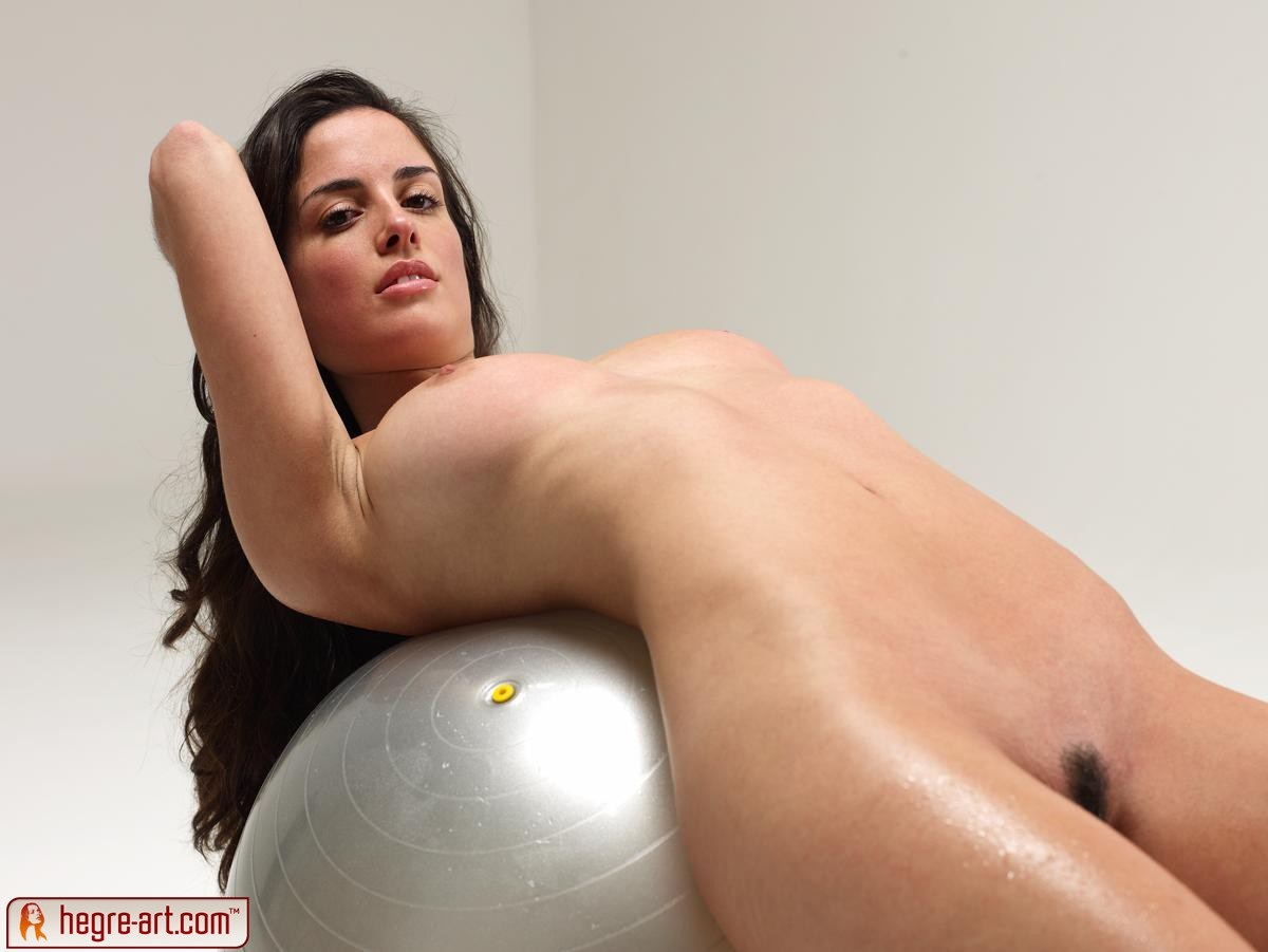 Ball exercise naked nude on