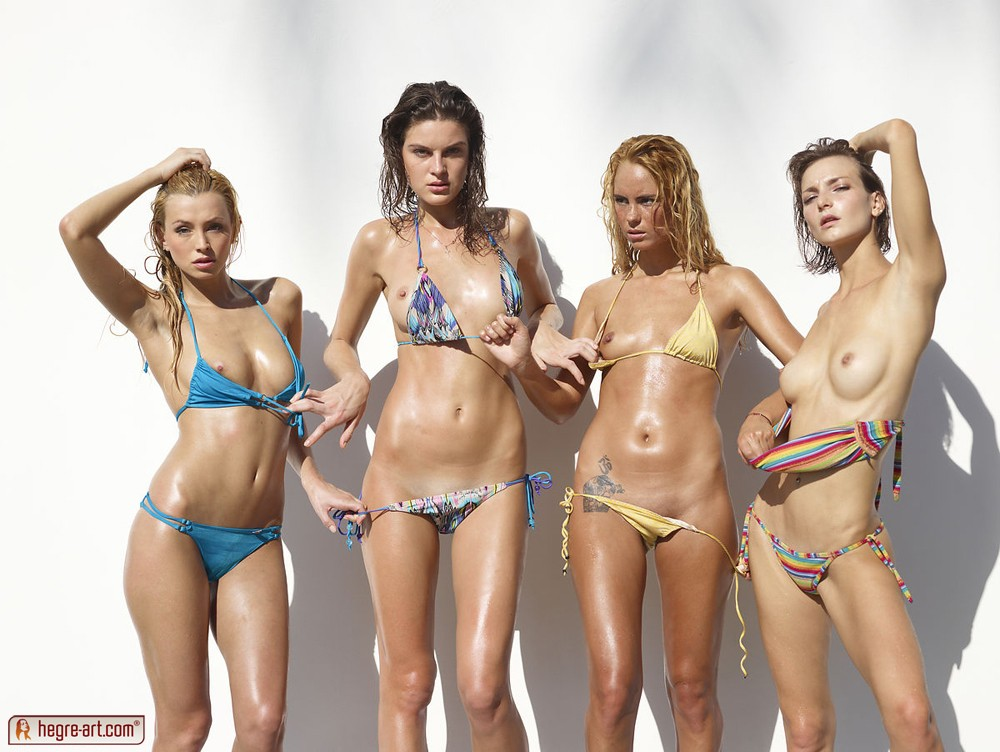 A group of amazing sexy slim bikini babes strips down ...