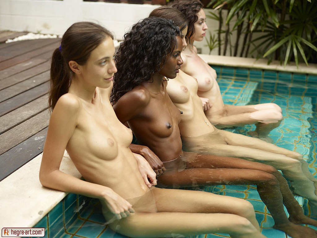 Nude foursome at the pool